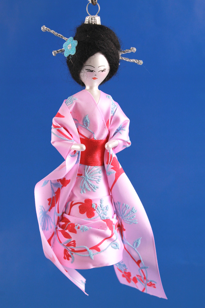 De carlini japanese lady in pink dress ornament the cottage shop