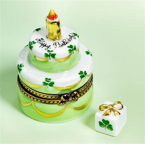 Cake Image With Name Lucky : Limoges 2 Story Birthday Cake with Lucky Clovers Box and ...