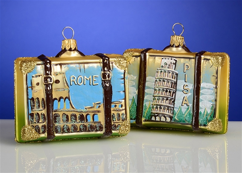 Other products by Polish Ornaments - Rome Italy Suitcase Polish Glass Christmas Ornament, Each. The