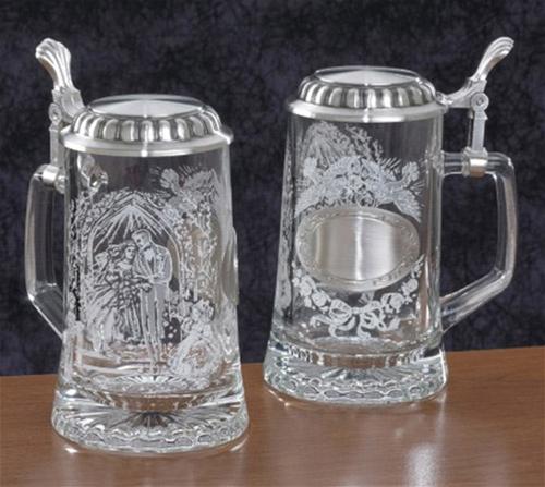 German Wedding Gl Engravable Beer Stein Each