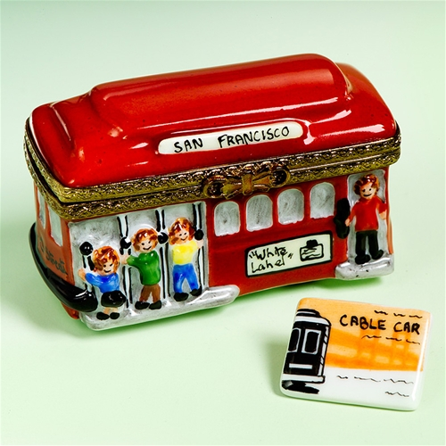 Limoges San Francisco Cable Car Box With Ticket The