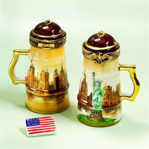 limoges one manhattan beer stein box with usa flag the. Black Bedroom Furniture Sets. Home Design Ideas