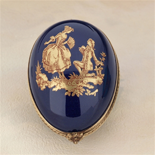 Limoges Cobalt Blue Egg with Gold Couple Box The Cottage Shop