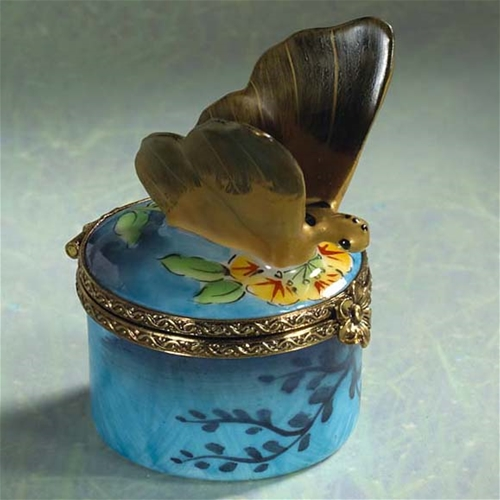 Limoges Gold Butterfly on Blue Box The Cottage Shop