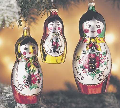 Matryoshkas Italian Glass Christmas Ornaments set of 3 - Matryoshkas Italian Glass Christmas Ornaments Set Of 3 The Cottage Shop