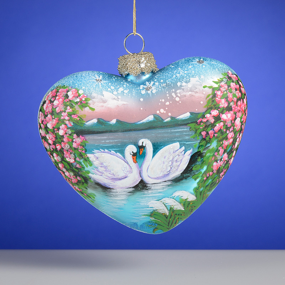 Russian Swans Hand Painted Heart Glass Ornament The ...
